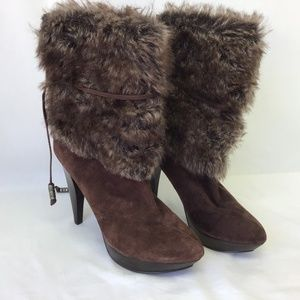 TWO LIPS  Boot Ankle Leather Faux Fur Stiletto 8.5
